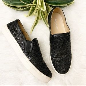 Wanted Spangle Glitter Slip-On Sneakers Black 5.5